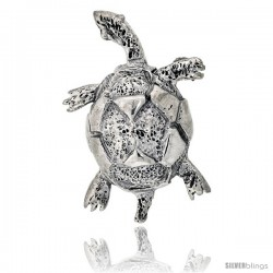 "Sterling Silver Turtle Brooch Pin, 1 7/16"" (37 mm) tall"