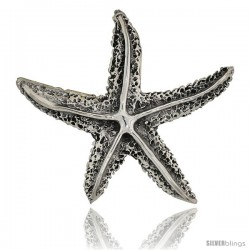 "Sterling Silver Star Fish Brooch Pin, 1 3/4"" (44 mm) tall"