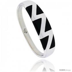 Sterling Silver Black Obsidian Inlay Bangle Bracelet Zigzag Pattern Handmade, 1/2 in wide