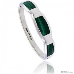 Sterling Silver Malachite Inlay Bangle Bracelet Handmade, 9/16 in wide