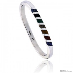 Sterling Silver Multi Color Stone Inlay Striped Bangle Bracelet Handmade, 1/4 in wide
