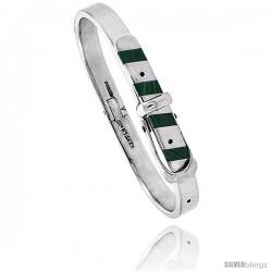 Sterling Silver Malachite Inlay Belt Buckle Bangle Bracelet Handmade, 1/4 in wide