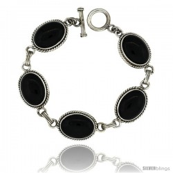 Sterling Silver Oval Black Obsidian Stone Link Bracelet Toggle Clasp, 5/8 in wide, 7 in