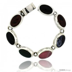 Sterling Silver Multi Color Stone Oval Link Bracelet 9/16 in wide, 7 in