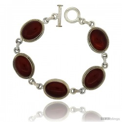 Sterling Silver Oval Carnelian Stone Link Bracelet Toggle Clasp, 11/16 in wide, 7.5 in