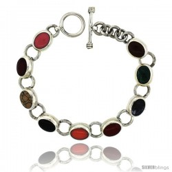 Sterling Silver Multi Color Stone Oval Link Bracelet Toggle Clasp, 3/8 in wide, 7.5 in