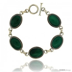 Sterling Silver Oval Malachite Stone Link Bracelet Toggle Clasp, 11/16 in wide, 7.5 in