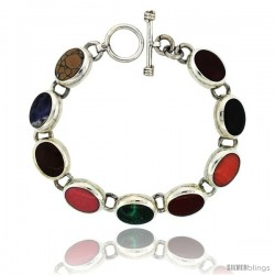 Sterling Silver Multi Color Stone Oval Link Bracelet Toggle Clasp, 1/2 in wide, 7.5 in