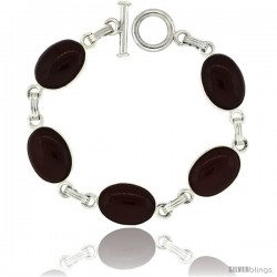 Sterling Silver Natural Carnelian Stone Jet Resin Inlay Link Bracelet