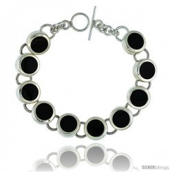 Sterling Silver Round Black Obsidian Stone Link 7.5 Bracelet w/ Toggle Type Lock, 9/16 in wide