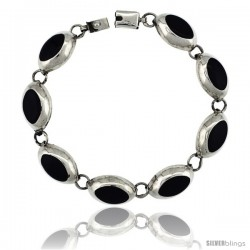 Sterling Silver Oval Black Obsidian Stone Link 7 Bracelet 1/2 in wide