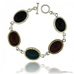 Sterling Silver Multi Color Stone Oval Link 7.5 Bracelet w/ Toggle Type Lock, 11/16 in wide