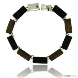 Sterling Silver Black Obsidian & Tiger Eye Stone Bar Link 7 Bracelet 3/8 in wide