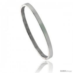 Sterling Silver Bangle Bracelet w/ Black Onyx Bar Inlay, 3/16 in wide