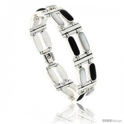 Sterling Silver Rectangular Bar Bracelet Double Row Alternating Black Resin & Mother of Pearl Stones, Fold Over Clasp, 7 1/4 in
