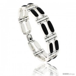 Sterling Silver Rectangular Bar Bracelet Double Row All Black Resin, Fold Over Clasp, 7 1/4 in long