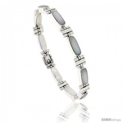 Sterling Silver Rectangular Bar Bracelet Single Row Mother of Pearl Stones, Fold Over Clasp, 7 1/4 in