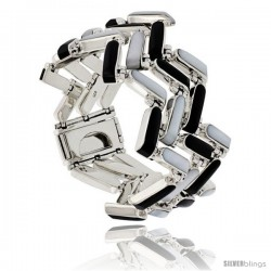 Sterling Silver Rectangular Bar Bracelet Three Row Zig Zag Pattern Links Alternating Black Resin & Mother of Pearl Stones, Box