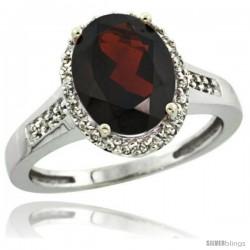 14k White Gold Diamond Garnet Ring 2.4 ct Oval Stone 10x8 mm, 1/2 in wide