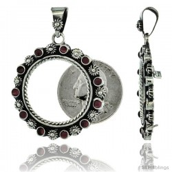 Sterling Silver 24 mm Quarter Dollar (25 Cents) Coin Frame Bezel Pendant w/ Floral Edge Design -Style Xcfs24