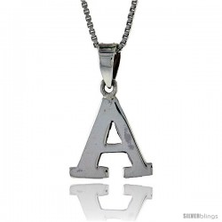 Sterling Silver Block Initial Letter A Aphabet Pendant Highly Polished, 1/2 in tall