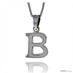 Sterling Silver Block Initial Letter B Aphabet Pendant Highly Polished, 1/2 in tall