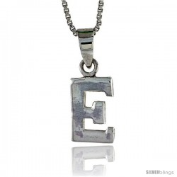 Sterling Silver Block Initial Letter E Aphabet Pendant Highly Polished, 1/2 in tall