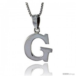 Sterling Silver Block Initial Letter G Aphabet Pendant Highly Polished, 1/2 in tall