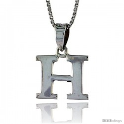 Sterling Silver Block Initial Letter H Aphabet Pendant Highly Polished, 1/2 in tall
