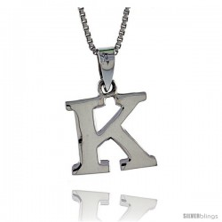 Sterling Silver Block Initial Letter K Aphabet Pendant Highly Polished, 1/2 in tall