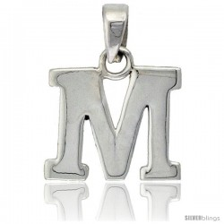 Sterling Silver Block Initial Letter M Aphabet Pendant Highly Polished, 1/2 in tall
