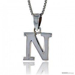 Sterling Silver Block Initial Letter N Aphabet Pendant Highly Polished, 1/2 in tall