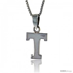 Sterling Silver Block Initial Letter T Aphabet Pendant Highly Polished, 1/2 in tall