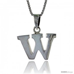 Sterling Silver Block Initial Letter W Aphabet Pendant Highly Polished, 1/2 in tall