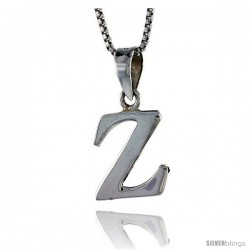 Sterling Silver Block Initial Letter Z Aphabet Pendant Highly Polished, 1/2 in tall