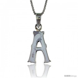 Sterling Silver Block Initial Letter A Aphabet Pendant Highly Polished, 3/4 in tall
