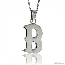 Sterling Silver Block Initial Letter B Aphabet Pendant Highly Polished, 3/4 in tall
