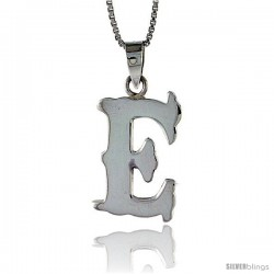 Sterling Silver Block Initial Letter E Aphabet Pendant Highly Polished, 3/4 in tall