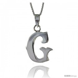 Sterling Silver Block Initial Letter G Aphabet Pendant Highly Polished, 3/4 in tall