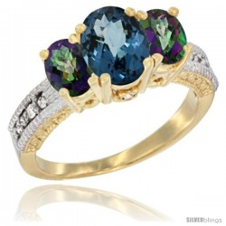 14k Yellow Gold Ladies Oval Natural London Blue 3-Stone Ring with Mystic Topaz Sides Diamond Accent