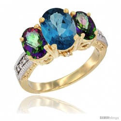 14K Yellow Gold Ladies 3-Stone Oval Natural London Blue Topaz Ring with Mystic Topaz Sides Diamond Accent