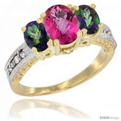 14k Yellow Gold Ladies Oval Natural Pink Topaz 3-Stone Ring with Mystic Topaz Sides Diamond Accent