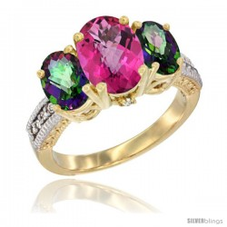 14K Yellow Gold Ladies 3-Stone Oval Natural Pink Topaz Ring with Mystic Topaz Sides Diamond Accent