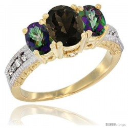 14k Yellow Gold Ladies Oval Natural Smoky Topaz 3-Stone Ring with Mystic Topaz Sides Diamond Accent
