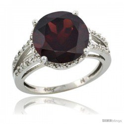 14k White Gold Diamond Garnet Ring 5.25 ct Round Shape 11 mm, 1/2 in wide
