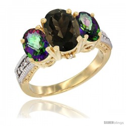 14K Yellow Gold Ladies 3-Stone Oval Natural Smoky Topaz Ring with Mystic Topaz Sides Diamond Accent