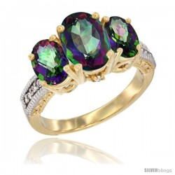 14K Yellow Gold Ladies 3-Stone Oval Natural Mystic Topaz Ring Diamond Accent