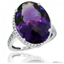 10k White Gold Diamond Amethyst Ring 13.56 Carat Oval Shape 18x13 mm, 3/4 in (20mm) wide