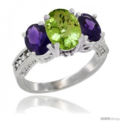 10K White Gold Ladies Natural Peridot Oval 3 Stone Ring with Amethyst Sides Diamond Accent