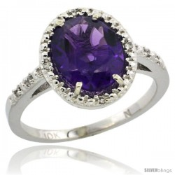 10k White Gold Diamond Amethyst Ring 2.4 ct Oval Stone 10x8 mm, 1/2 in wide -Style Cw901111